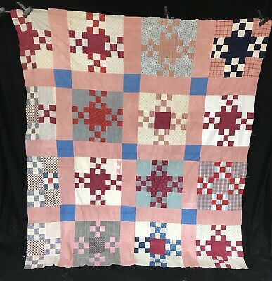 BK- Early antique 1800's primitive calico 9-patch Cross Variation Quilt top