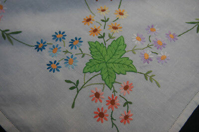 """VINTAGE HAND EMBROIDERED TABLECLOTH   48"""" x 50"""" (24)"""