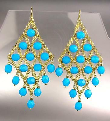 Gorgeous urban anthropologie teal blue crystals gold chandelier gorgeous urban anthropologie teal blue crystals gold chandelier earrings cle23 mozeypictures Image collections