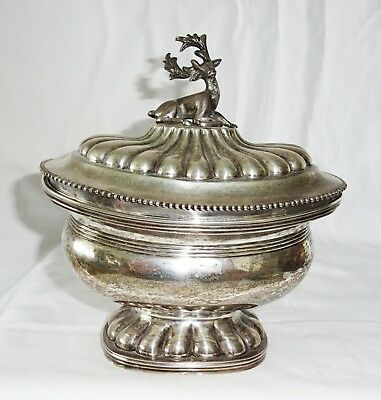 1840 Dutch Rotterdam 833 Hammered Silver Footed Bowl w Deer Finial by IS W(Cro)