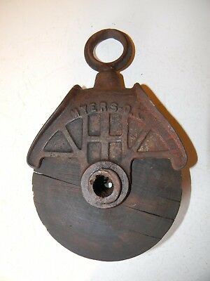 Antique MYERS O.K. Wood and Metal/Cast Iron Pulley Barn Rustic Decor