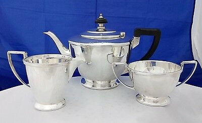 Art Deco Silver Plate 3 Piece Teaset by Mappin & Webb Prince's Plate Pre 1940