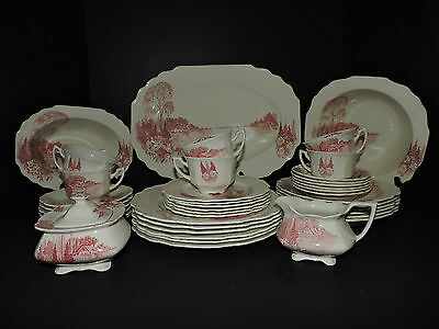 Vintage Myott Son and Co Red Homeland China Set 6pc Setting for 4 (29 Pieces)