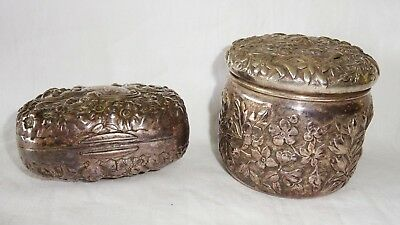 2x Antique Sterling Silver Floral Repousse Covered Boxes by Gorham/ S Kirk(Cro)
