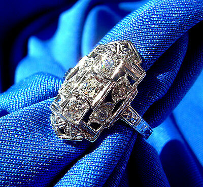 Art Deco European Cut Diamond Engagement Ring Antique Vintage Solitaire