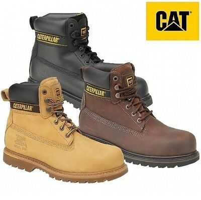 """Mens Caterpillar Holton Steel Toe Cap Safety Leather CAT 6"""" Work Boots Size 6-15"""