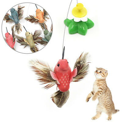 Electric Pet Rotating Bird Flower Colorful Cat Teaser Wire Interactive Toys Cyq9