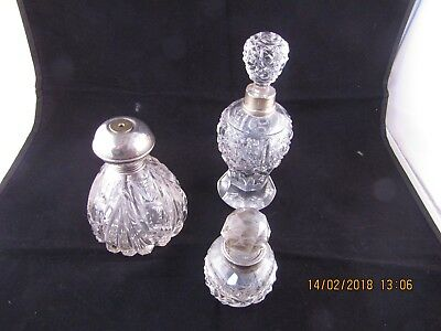 Antique Silver Collared Cut Glass Crystal Perfume Scent Bottles JOB LOT
