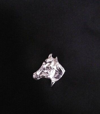 SILVER PONY  Head Bust LAPEL HAT PIN BADGE