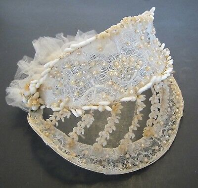 Vintage 1920's Bride Wedding Head Piece Veil with Lace, Beads, Pearls, Flowers