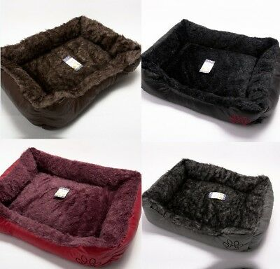 Leather Pets Basket Warm Comfy Wrax Super Soft Bed Washable Cosy Fleece Dog Cats