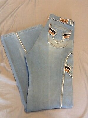 Vintage French Star 70s Unisex Bell Bottom Wide Leg Blue Denim Jeans RETRO 33x32