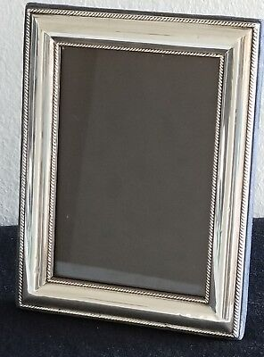 Vintage Signed Sterling Silver Simply Detailed Trimmed Picture Frame With Glass
