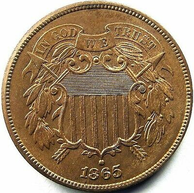 1865 2 cent piece in almost uncirculated condition