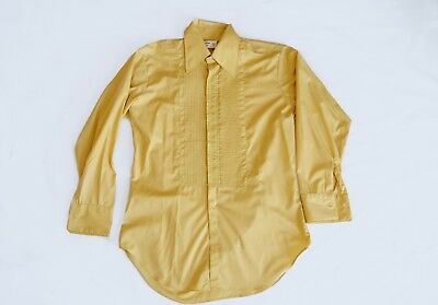 Vintage After Six 5 1/2 X 32 Yellow Embroidered Ruffle French Cuff Mens Shirt