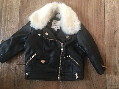 River Island Mini  Jacket With Fur 0-3 months Months faux leather
