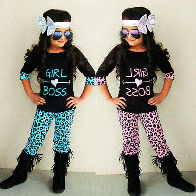 2PCS Toddler Kids Baby Girls Outfits T-shirt Tops+Leopard Long Pants Clothes Set