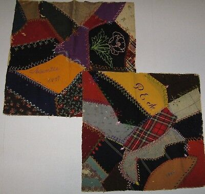 """Two  Antique Crazy Quilt Blocks 18"""" x 18"""" SIGNED and Dated 1896 & 1897 OOAK"""