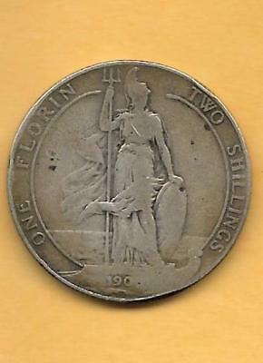 King Edward VII Sterling Silver 190X FLORIN – TWO SHILLINGS