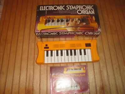 Vintage 1978 Tomy Electronic Symphonic Organ Keyboard Works in Box w/Songbook