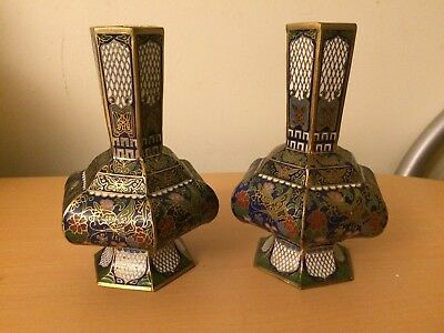Pair of Matching Chinese Champleve  Vases. Unusual Hexagon Shape.