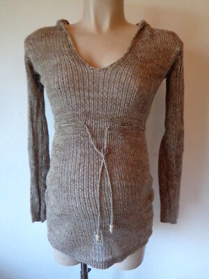 Motherhood Maternity Oatmeal Hooded Jumper & Cami Top In One Size S Uk 8-10