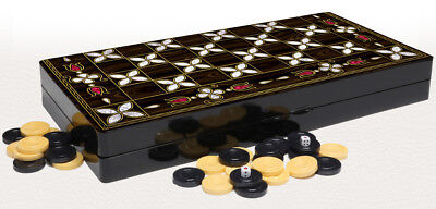 """Defective 19"""" Floral Mother of Pearl Pattern Compressed Wood Checkers Backgammon"""