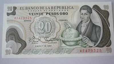 Colombia  20 Pesos  Banknote -  1979/83   -  Crisp Uncirculated