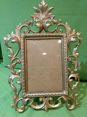 Antique Standing Easel Brass Victorian Photo Picture Frame 12x9 Holds 4x6 Photo