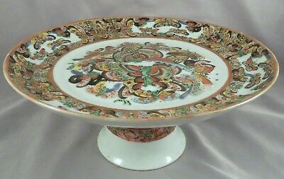 Antique Chinese Export Porcelain 1000 BUTTERLIES Compote Tazza Pedestal Dish NR