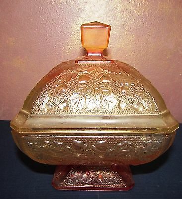 VIntage JEANNETTE Depression Glass Lidded Candy Dish Acorn/Oak Leaf Peachy/Amber