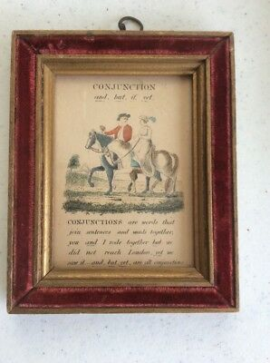 """Antique Framed Colored Print """"Conjunctions..."""" ,3x5"""""""