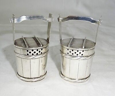 Pair Japanese 950 Sterling Silver Water Bucket Motif Salt & Pepper Shakers (Lon)