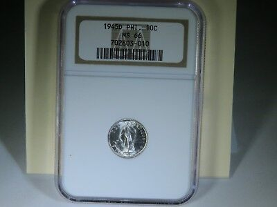 1945 D Philippines 10 Centavos MS66 NGC Uncirculated