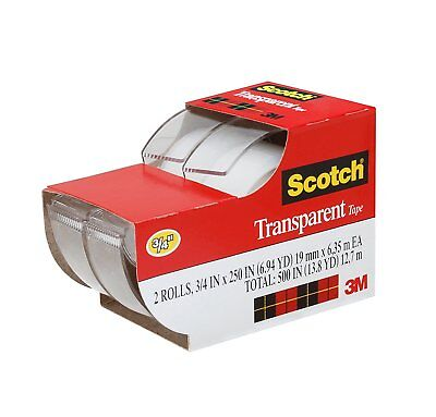 "2pc 3M Scotch Tape Clear Office Transparent 3/4"" 250"" w/ Desktop Dispenser Lot"