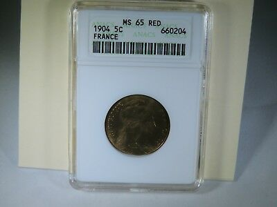 1904 5C France MS 65 RED ANACS Uncirculated