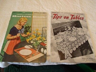 2 Vintage Crochet Pattern Books,Tips on Tables-1941,Hostess Book-1956    GS8