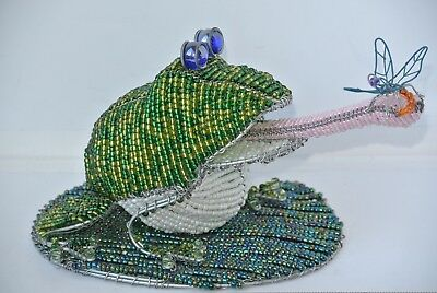 Beadworx Large Frog w/ Dragonfly on Lily Pad Glass Beads on Galvanized Wire