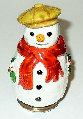 Halcyon Days Enamel Box- Snowman & Red Scarf & Tam O'shanter Bonbonniere & Holly