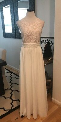 7e7c252022b Lulus Nude Long White Lace Maxi Dress Wedding Bridal Bridesmaid S M L Gown