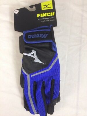 1 Pair Mizuno Finch Blue Black Batting Gloves Womens Fastpitch Softball Large