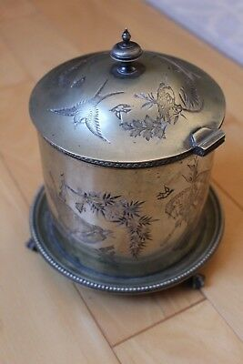 English Silver Plated Biscuit Barrel Circa 1880