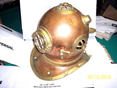 VINTAGE Diver's Helmet Copper & Brass *SELLING AS IS FOUND IN BARN* SEE 12 PICS