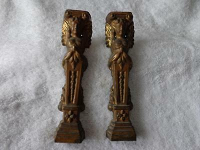 2 Figural Columns Black Pillar Mantle Shelf Clock Aged Brass Patina Seth Ansonia