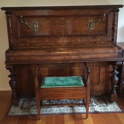Upright Thurmer piano circa 1880s and stool