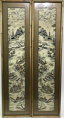 2pc Antique Chinese Hand Embroidered Scenic Dragon Boat Silk Art Work Framed