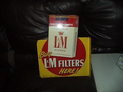 "Vintage 1940's-1950's L&M / Chesterfield Cigarettes Flange sign 14  3/4"" x 12"""