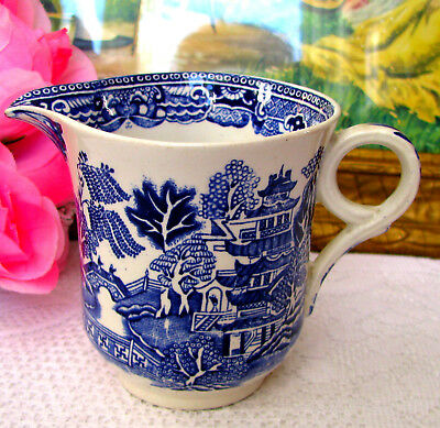 Green & Co. Ltd Church Gresley England Blue Willow Creamer - Rare Shape c.1930s