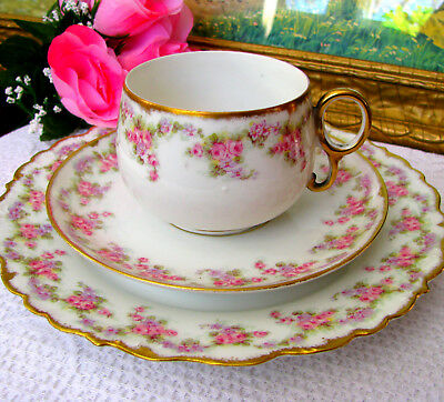 SM Limoges Elite Works Bridal Wreath Luncheon Trio - Teacup, Saucer, Lunch Plate