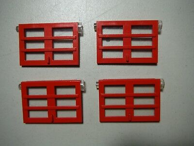 Lego Bulk Lot Of 4 Red Doors 6 Panes 1X4X5 With Trans Clear Glass #73313